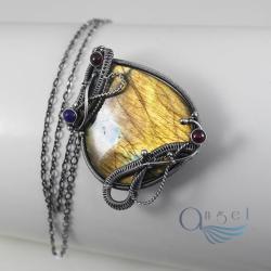 naszyjnik,złoty labradoryt,okazały,wire wrap - Naszyjniki - Biżuteria
