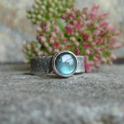 srebrny pierścionek,labradoryt - Pierścionki - Biżuteria
