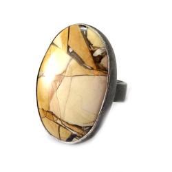 jaspis,srebrny,okazały,srebro,szarości,beżowy - Pierścionki - Biżuteria