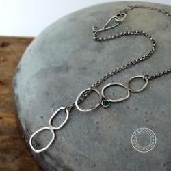 srebro,agat,zielony,asymetria,oksydowany,surowy, - Naszyjniki - Biżuteria