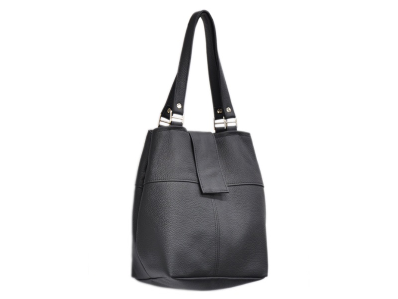 f8b460f226307 Czarna torebka ze skóry naturalnej Ibis 34-0001. modne damskie torebki  skórzane eleganckie markowe - Na ramię ...