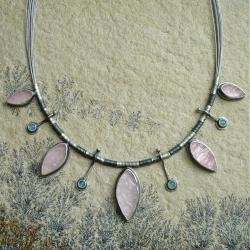rózowy,apstelowy,kwarc różowy - Naszyjniki - Biżuteria