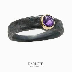srebro,złoto,ametyst - Pierścionki - Biżuteria