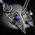 Naszyjniki srebrny,naszyjnik,wire-wrapping,lapis lazuli,ciba