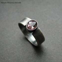 srebro,turmalin,elegancki,surowy - Pierścionki - Biżuteria