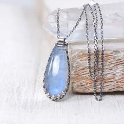 Srebrny naszyjnik z kamieniem księżycowym - Naszyjniki - Biżuteria
