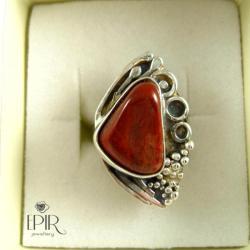 Pierścionek srebrny z jaspiem - Pierścionki - Biżuteria