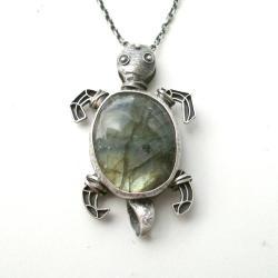 srebrny wisior,labradoryt,żółw - Wisiory - Biżuteria