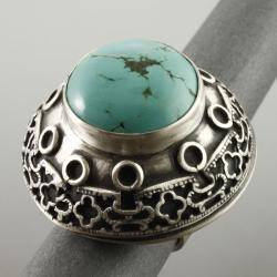 pierścień z turkusem - Pierścionki - Biżuteria