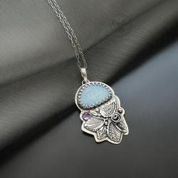 srebrny,naszyjnik,z opalem,romantyczny - Naszyjniki - Biżuteria