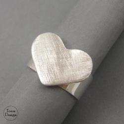 matowe,srebrny perścionek,serce - Pierścionki - Biżuteria