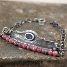 Bransoletki bransoleta ze srebra,rubinów,iolitu