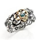 Pierścionki pierścionek z niebieskim diamentem