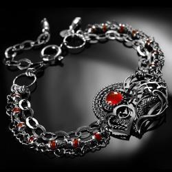 srebrna,bransoletka,wire-wrapping,karneol,ciba - Bransoletki - Biżuteria