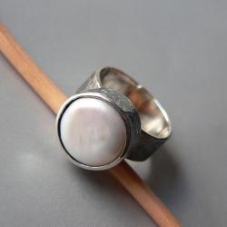 perła,z perłą,regulowany - Pierścionki - Biżuteria