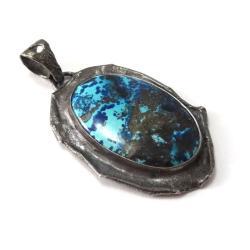 srebrny,azuryt,szarości,blask,granat,turkus - Wisiory - Biżuteria