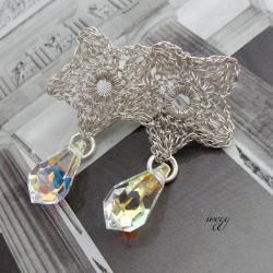 koronkowa gwiazdka z kryształem - Kolczyki - Biżuteria