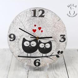 zegar,ceramika raku,zegar ceramiczny,raku,sowy - Ceramika i szkło - Wyposażenie wnętrz