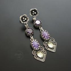 srebrne,kolczyki,z czaroitem,długie - Kolczyki - Biżuteria