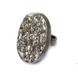 srebrny,muskowit,blask,szarości,jesienny,elegancki - Pierścionki - Biżuteria