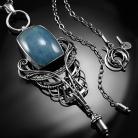 Naszyjniki srebrny,naszyjnik,wire-wrapping,akwamaryn,błękitny