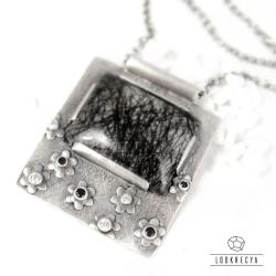 srebrny wisior z kwiatami,srebrny naszyjnik - Naszyjniki - Biżuteria