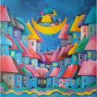 Obrazy miasteczko,koty,domki,abstrakcja