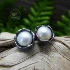 Kolczyki srebrne,oksydowane,perłowe,sztyfty,romantyczne