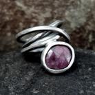 Pierścionki Pierścionek srebrny z rubinem