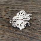 Broszki czaszka,sugarskull,róża,broszka z różą