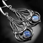 Kolczyki srebrne,kolczyki,wire-wrapping,kamień,księżycowy
