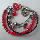 Bransoletki czerwona bransoletka,z koralem,boho