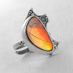 litori,handmade,pierścionek,ammolit,srebro - Pierścionki - Biżuteria