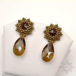 eleganckie,wieczorowe,brązowe,kryształy,swarovski - Kolczyki - Biżuteria