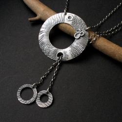 naszyjnik srebrny,koła,art clay,handmade,fiann - Naszyjniki - Biżuteria
