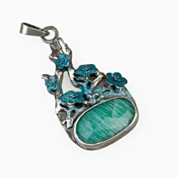 wisior,srebrny,emaliowany,amazonit - Wisiory - Biżuteria