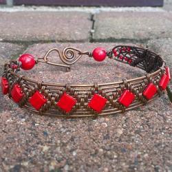 miedź,koral,bransoleta,wire wrapping - Bransoletki - Biżuteria