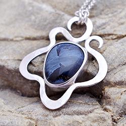 srebro,secesja,pomysł na prezent,pietersyt - Naszyjniki - Biżuteria