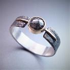 Pierścionki srebrno-złoty pierścionek z diamentem rose cut
