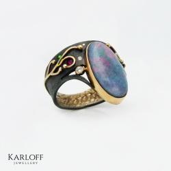 Czarny opal,diamenty,rubiny,szmaragdy - Pierścionki - Biżuteria