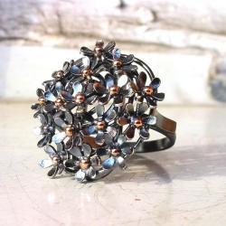 pierścionek,srebro,kwiaty,złoto - Pierścionki - Biżuteria