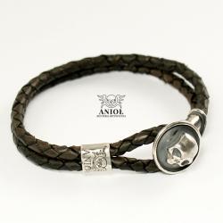 bransoleta skórzana,srebrna biżuteria męska - Dla mężczyzn - Biżuteria