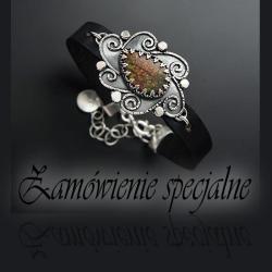 srebrna,bransoletka,z ammolitem,na rzemieniu - Bransoletki - Biżuteria
