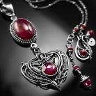 Naszyjniki srebrny,naszyjnik,wire-wrapping,rubin,ciba,rubiny