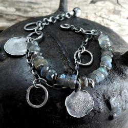 bransoletka z labradorytami,srebrna - Bransoletki - Biżuteria