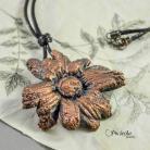 Wisiory naszyjnik,wisior,miedź,pociecha,kwiaty,retro