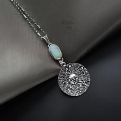 srebrny,naszyjnik,z opalem australijskim - Naszyjniki - Biżuteria