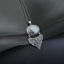 srebrny,naszyjnik,z kwarcem dendrytowym - Naszyjniki - Biżuteria