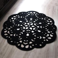 dywan,z filcu,serwetka,ażurowy,czarny - Inne - Wyposażenie wnętrz