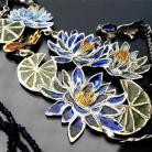 Naszyjniki emalia,iolit,lilie wodne,monet,kobaltowy